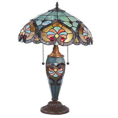 Tiffany Style Table Victorian Double Lamp Stained Glass Decor