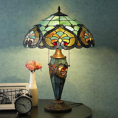 tiffany style table lamp victorian double lit