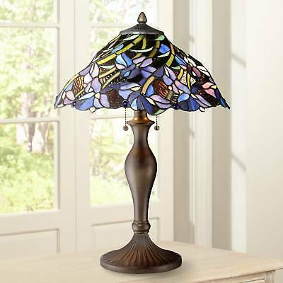 tiffany style table lamp vintage bronze stained