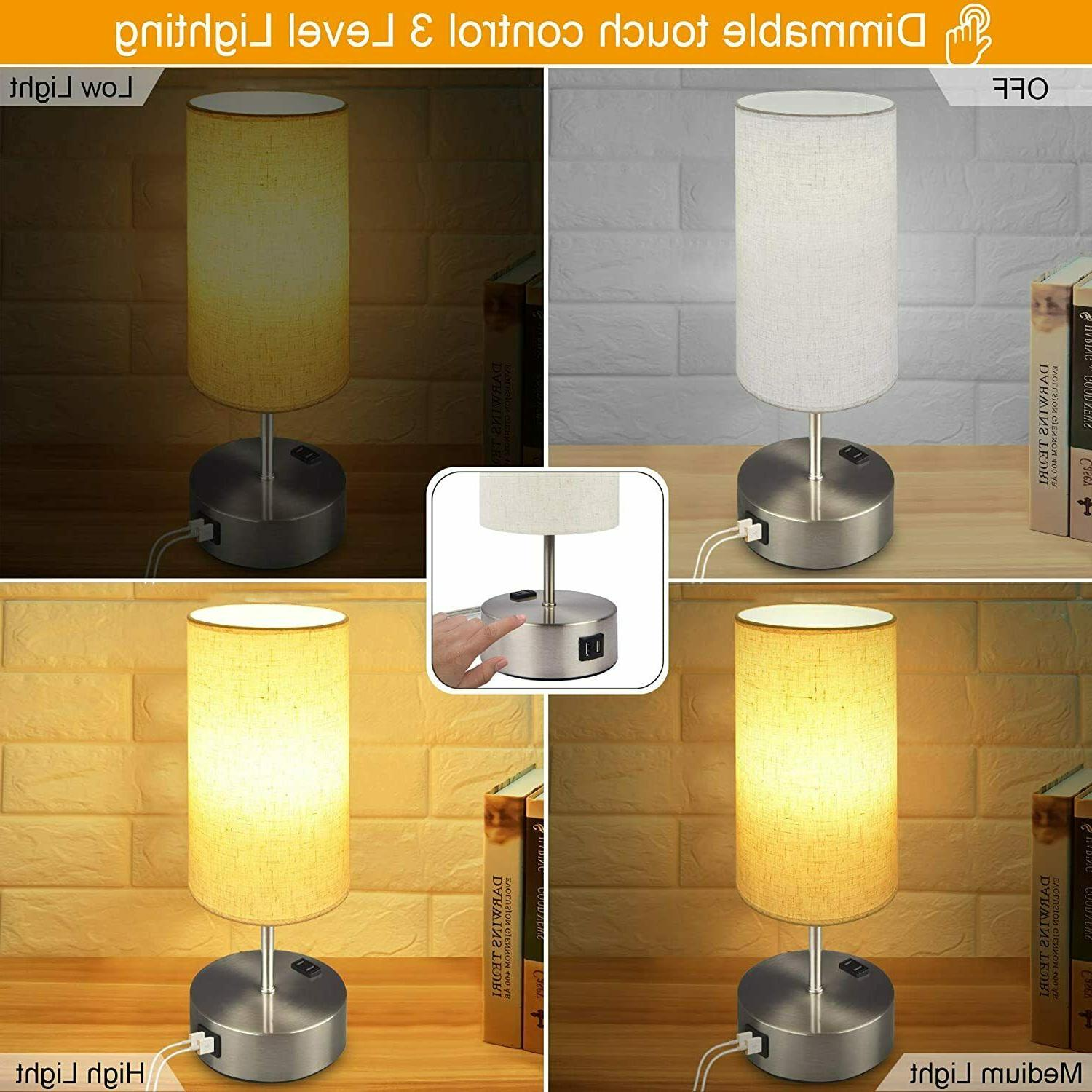 Touch Bedside Dimmable Table Dual Port