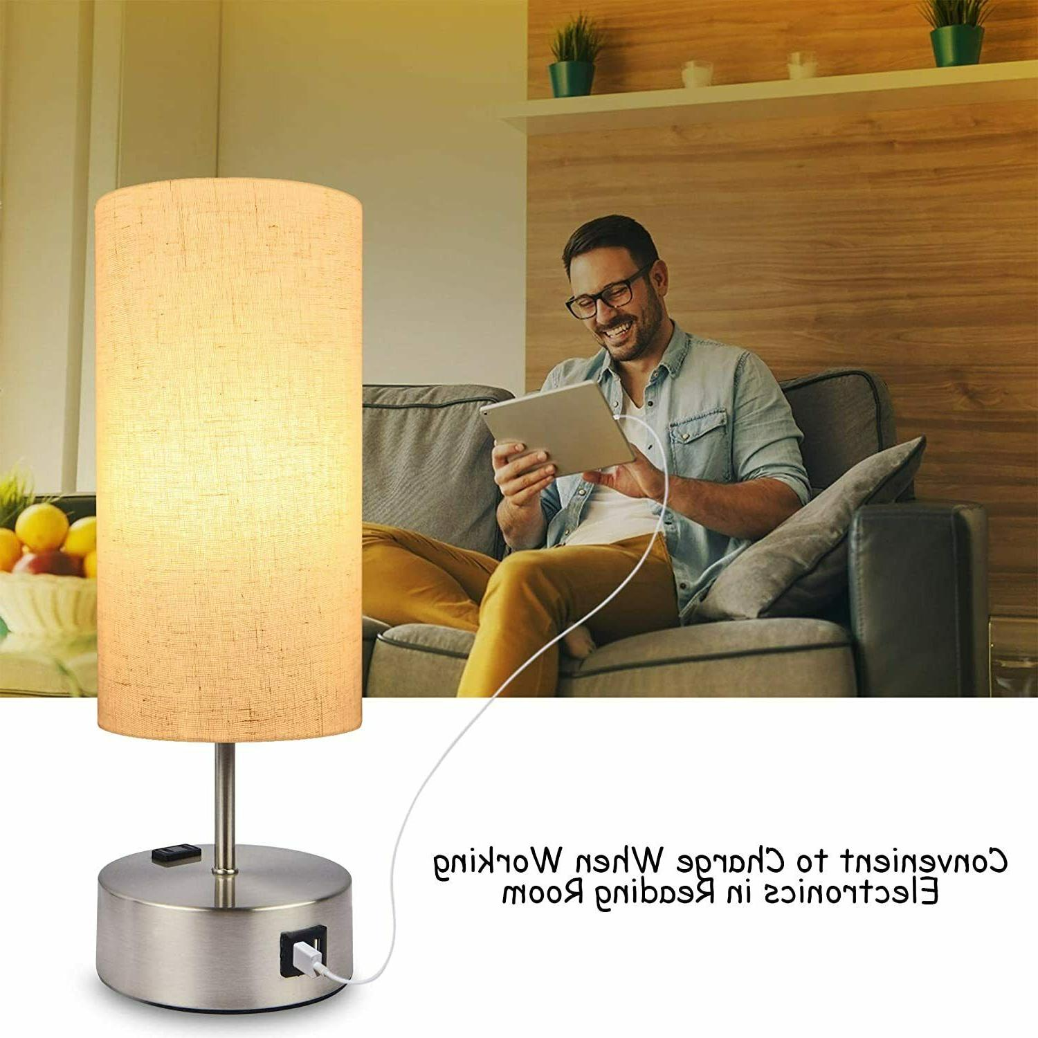 Touch Control Lamp,Hansang 3-Way Dimmable Table Lamp with Dual USB
