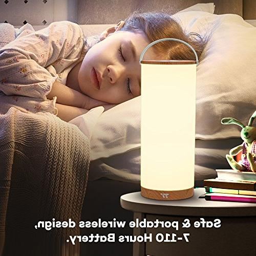 TaoTronics Bedside Lamp, LED Table Lamps for Bedroom with Internal Battery up to 110 Color