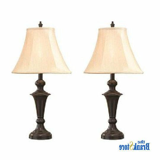 Traditional 2 Vintage Lamps Pair Nightstand