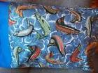 "TRAVEL SIZE PILLOW CASE ""LETS GO FISHING"" CUTE PATTERN/BLUE"
