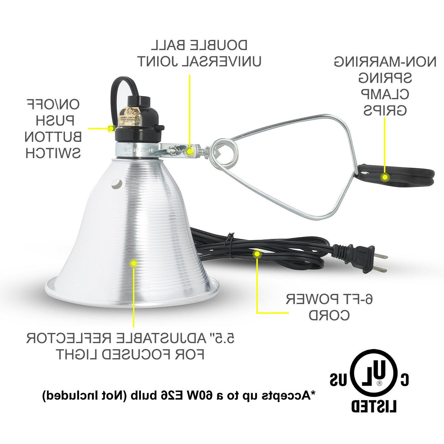 Simple Deluxe UL Clamp Lamp Light 5.5-Inch Reflector