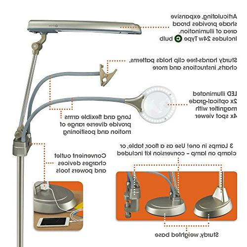 OttLite 3-in-1 Craft Lamp   Floor Table Clamp-On Lamp   Lighted 2X Outlet, Hands-Free Great Workshop
