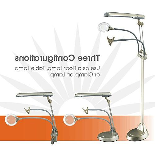 OttLite 3-in-1 Floor Lamp, Table Clamp-On Lamp   2X Outlet, Hands-Free Great for Office, Workshop