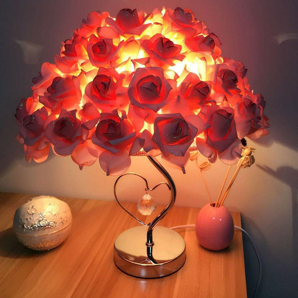 Rose Table Desk Lamp Flower Shade Light Home Commercial Deco