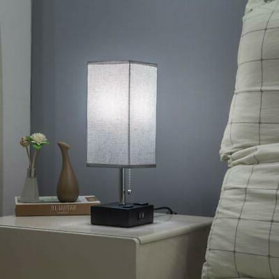 ZEEFO USB Gray Fabric Bedside Table with Two