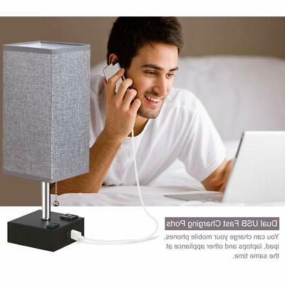 ZEEFO Table Bedside Table Lamp with Two