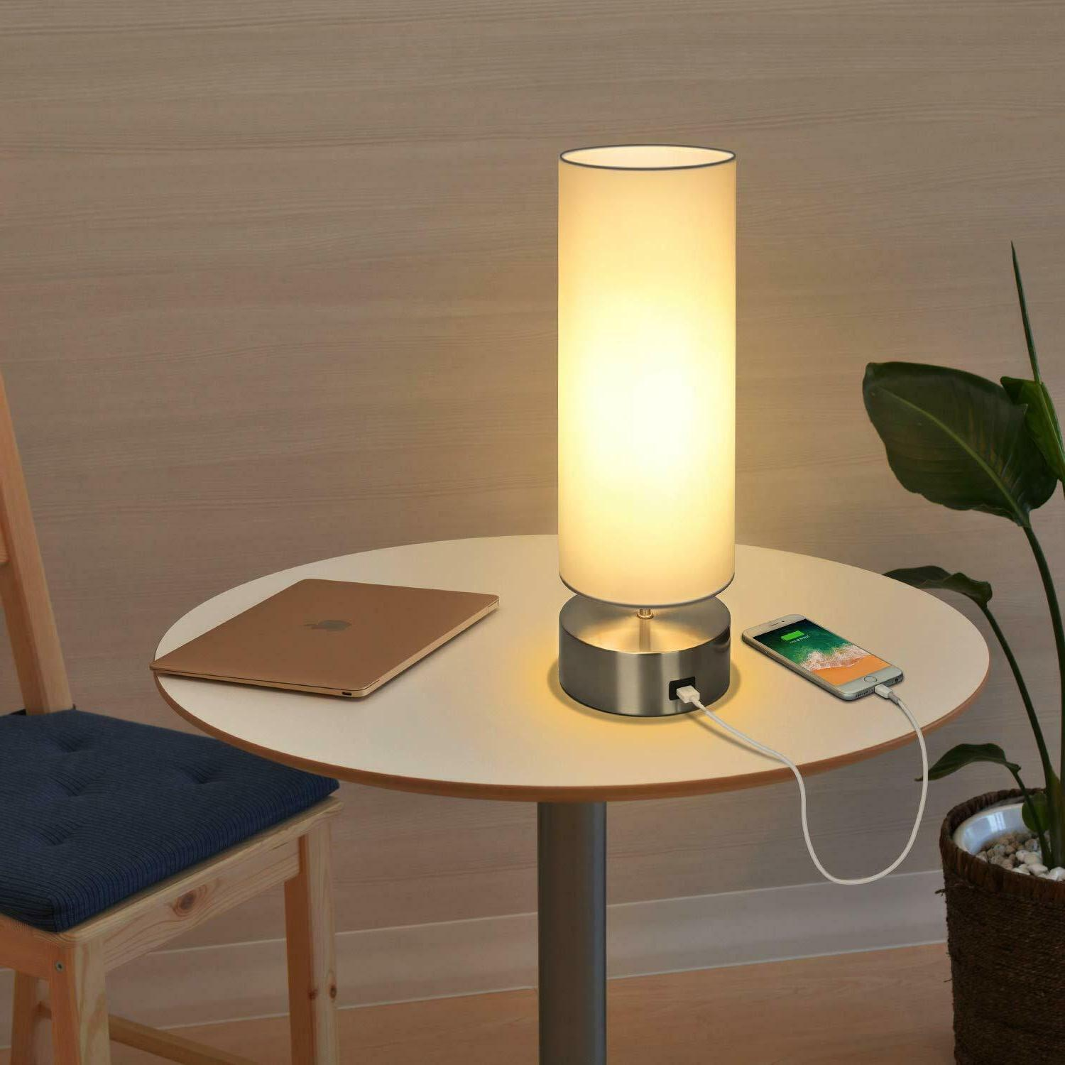 USB Lamp, Touch Control Bedside Nightstand Quick USB