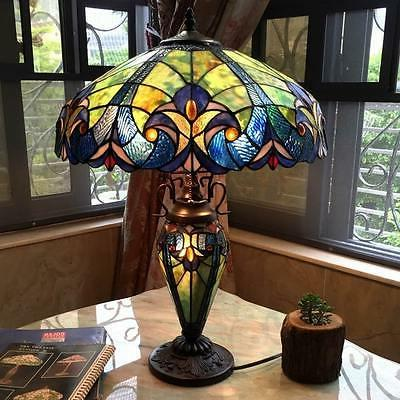"""Vibrant Color Double Lit 26"""" H Blue Table Lamp Stained Glass"""