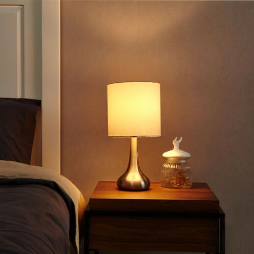 Modern White Fabric Drumshade Small Light Bedroom Nightstand