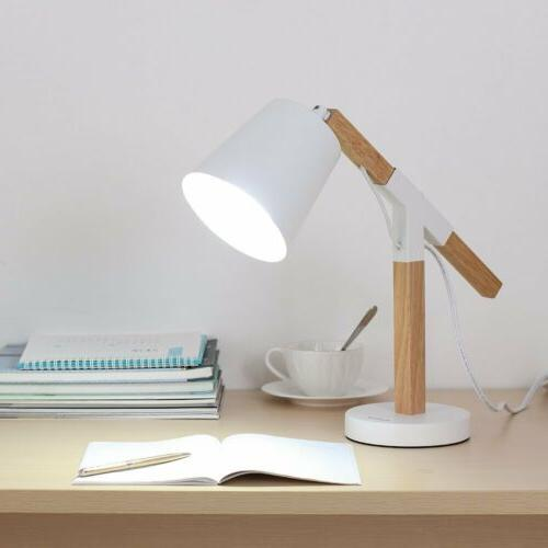 HAITRAL Simple Style Wooden Table Desk Lamp  for Study of Re