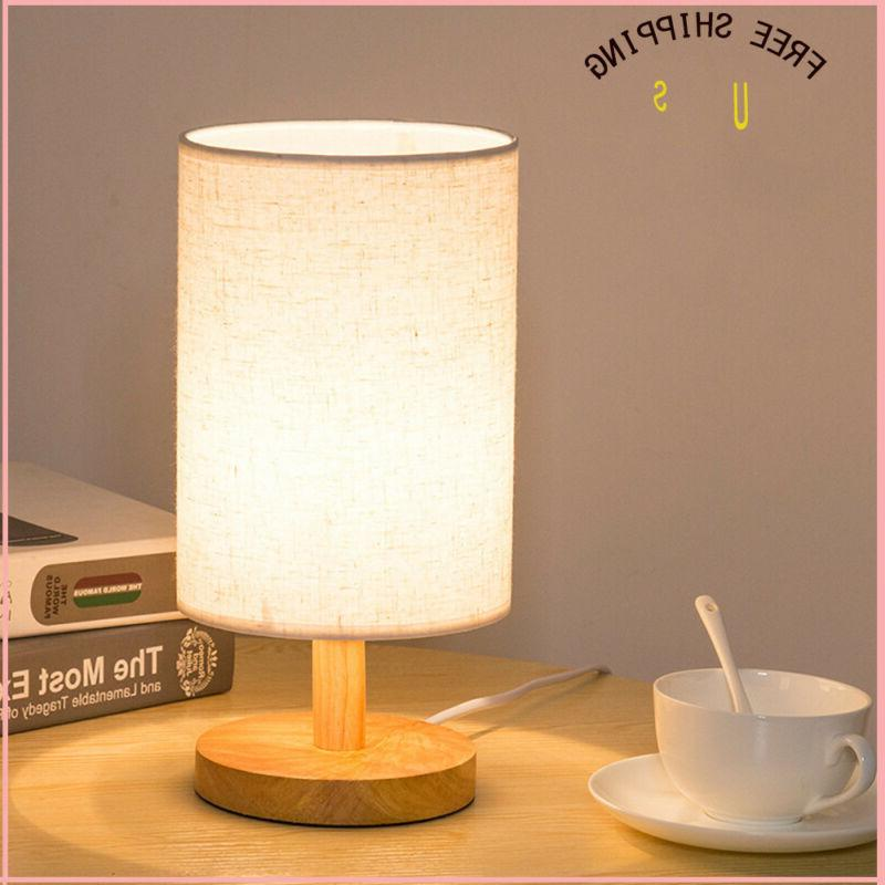Wood Table Lamp Bedside Desk Lamp  Fabric Shade Bedroom Home