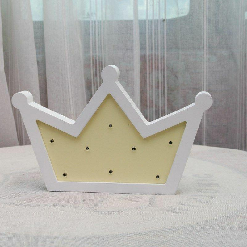 Wooden Crown Led Night Light Table Wall Hanging Lamp