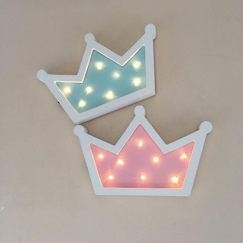 wooden crown led night light table lamp