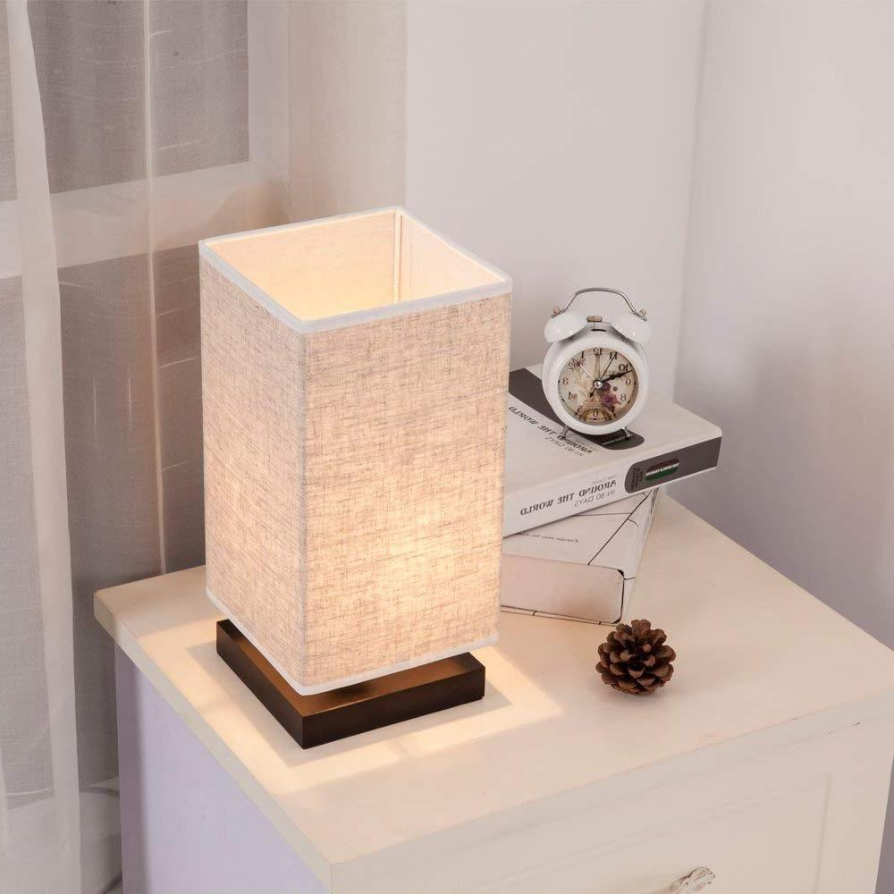 ZEEFO Bedside Retro Style Solid Wood Table Lamps with Fabric Shade