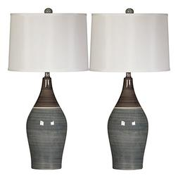 Ashley L123884 Niobe Ceramic Table Lamp - Multi Gray, Pack O