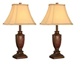 King's Brand L2601 Fabric Shade Table Lamps, Brushed Red Fin