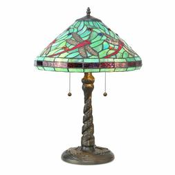 Tiffany Style Lamp w/ Blue Dragonfly Metal Base Table Lamp R