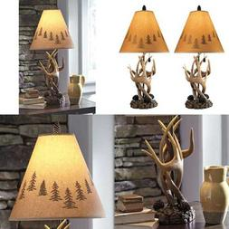 Lamp Set 2 End Table Top Lights Rustic Deer Elk Country Log