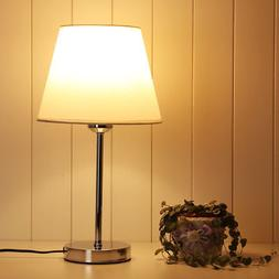 LE Bedside Table Lamp Off-white Fabric Shade for Bedroom Liv