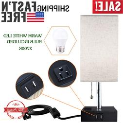LED Bedside Table lamp with 1 Outlet Plug & 2 USB Port – M
