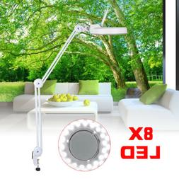LED Desk Table Clamp Mount 8X Magnifier Lamp Light Magnifyin