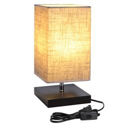 LED Table Lamp Bedside Desk Lamps with Square Flaxen Fabric