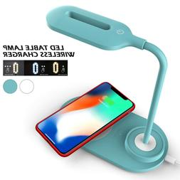 LED USB Charge Table Desk Lamp w/ QI Wireless Phone Charger