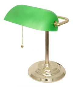 Light Accents Metal Bankers Lamp with Green Glass Shade and