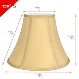 "Light Gold Bell Hand Made Fabric Lampshade, 7x14x11""H,"