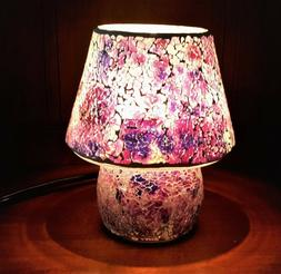 Lilac Purple Mosaic Glass Table Lamp 25W One Light UL Corded