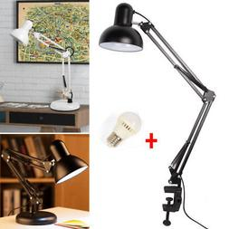 Long Arm Desk Lamp Work Reading Adjustable Folding Clip-on L