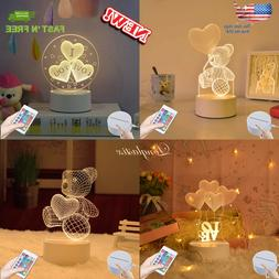 Love theme 3D illusion visual 7 color changing Night Light d