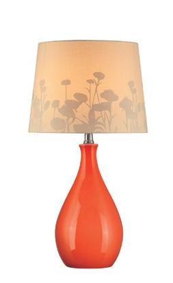 Lite Source LS-21489ORN Table Lamp, Orange Ceramic with Silh
