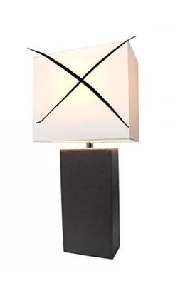 Elegant Designs LT1025BLK Modern Genuine Leather Table Lamp,