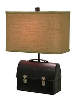 Lunch Box Table Lamp 20 Inches Tall Antique Black Metal Fini