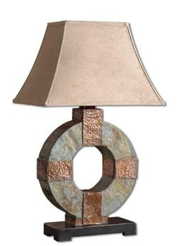 Luxe Slate Stone and Copper Circle Table LAMP Indoor Outdoor