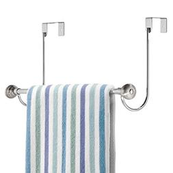 mDesign Metal Bathroom Over Shower Door Towel Rack Holder -
