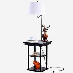 Brightech Madison - LED Floor and Table Lamp, Shelves & USB