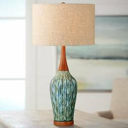 Mid Century Modern Table Lamp Ceramic Blue Wood for Living R