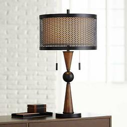 Mid Century Modern Table Lamp Wood Bronze Metal Shade for Li