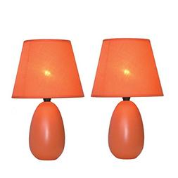 Simple Designs Mini Egg Oval Ceramic Table Lamp 2-Pack Set