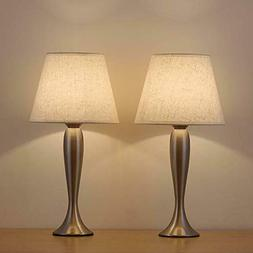 HAITRAL Mini Table Lamp Set of 2 - Modern Sand Nickel Bedsid