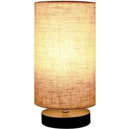 Minerva Wood Table Lamp - Solid Fabric Shade Bedside Desk La