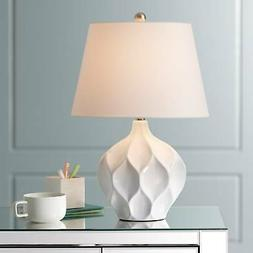 Modern Accent Table Lamp White Ceramic Tapered Shade for Liv