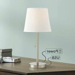 Modern Accent Table Lamp with USB Outlet Brushed Steel for L