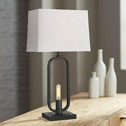 Modern Farmhouse Table Lamp with Nightlight LED Openwork Bla